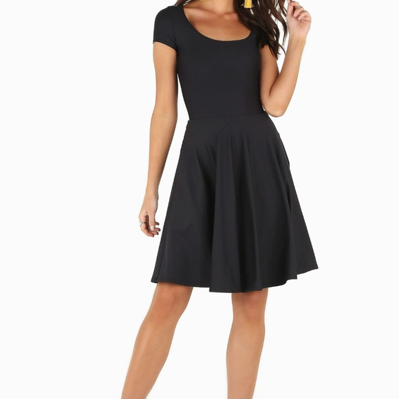 Blackmilk Dresses & Skirts - Blackmilk black cap-sleeve skater skirt dress, Med